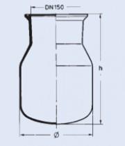 Reator de vidro com flange esmerilhada